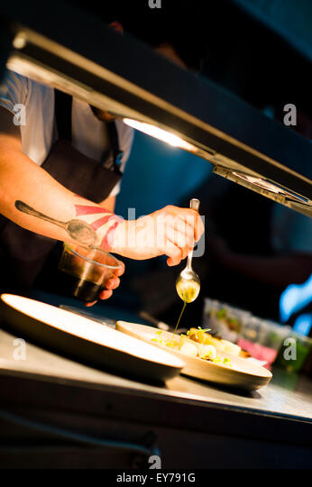 Restaurant Kitchen Work Stations work station in a restaurant stock photos & work station in a