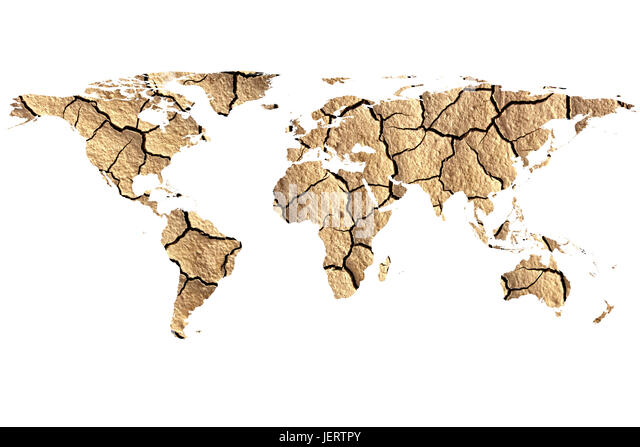 conceptual image of dried landscape with flat world map, furnished NASA world map image used - Stock Image