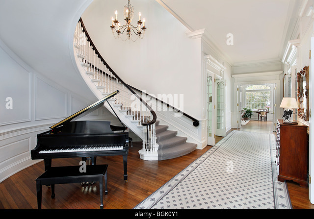 Furniture stairway traditional stock photos furniture for Furniture for curved wall in foyer