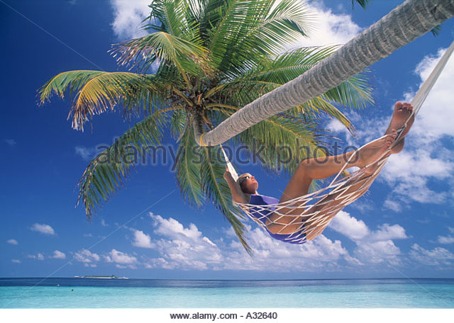 woman in hammock under palm tree in male islands   stock image woman barefoot in hammock males stock photos  u0026 woman barefoot      rh   alamy