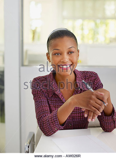 businesswoman in office with notepad stock image business nap office relieve