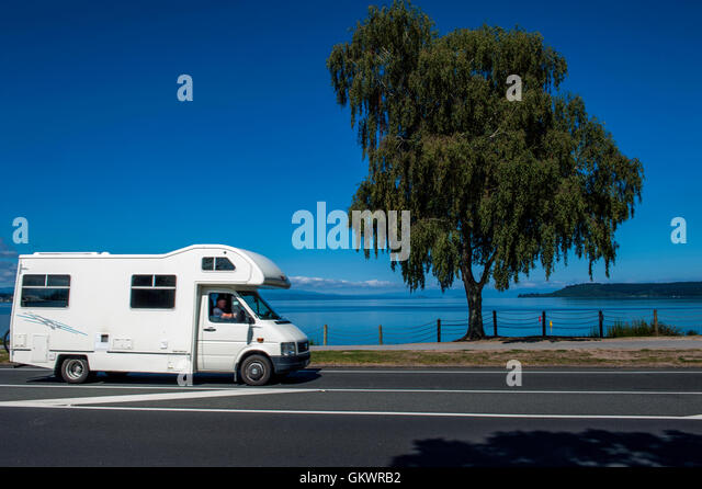 Amazing  Motorhomes Parked By River Taupo Taupo District Waikato Region New