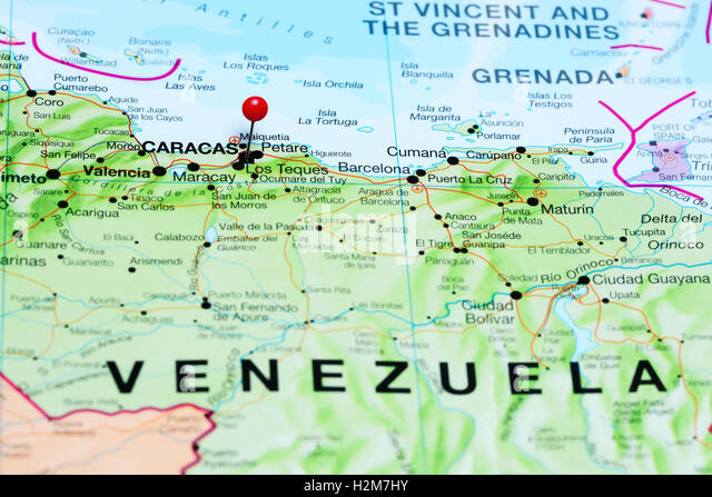 Caracas Marked On Map Stock Photos Caracas Marked On Map Stock