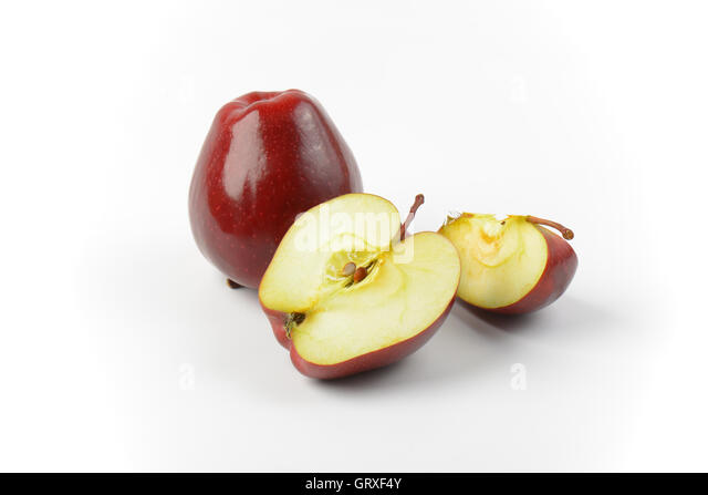 one apple slice. one whole red apple, half and slice - stock image apple