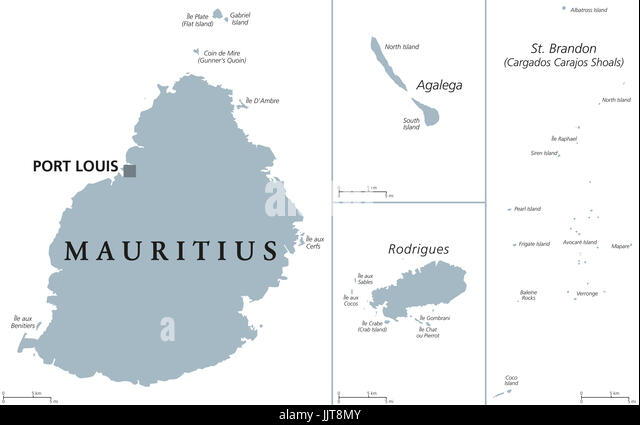 mauritius political map with capital port louis outer islands agalega rodrigues saint brandon