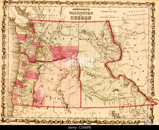Washington Oregon Territories 1862 Stock Image