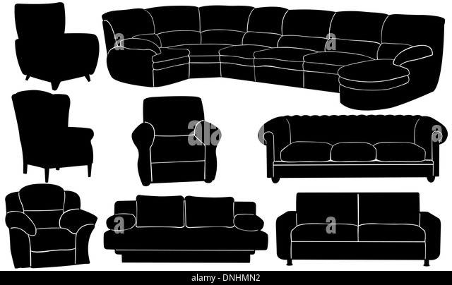 Different Couches couches black and white stock photos & images - alamy