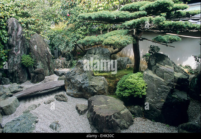 This Zen Garden Landscape Of Stones, Pines And A Dry Stream Is One Of The