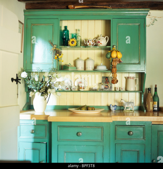 Green Kitchen Dresser: Traditional Furniture Dressers Stock Photos & Traditional