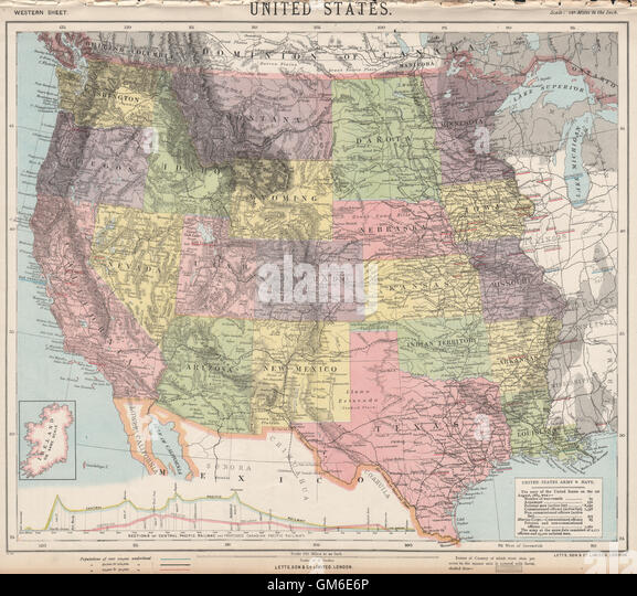 Central Pacific Railroad Th Century Stock Photos Central - 1889 us railroad map
