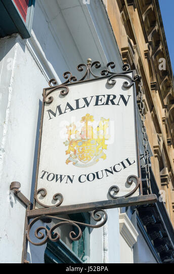 Sign for Malvern Town Council in Great Malvern, Worcestershire - Stock Image