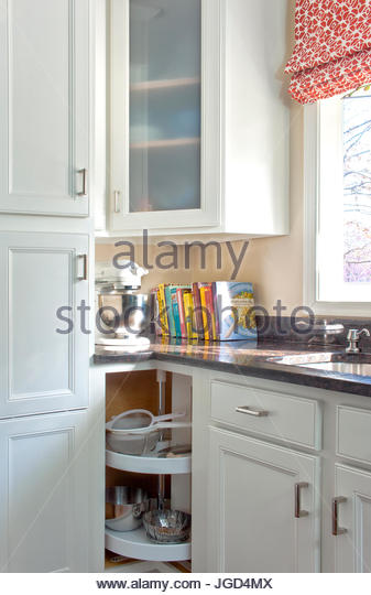 kitchen cabinet with lazy susan corner round shelving stock image