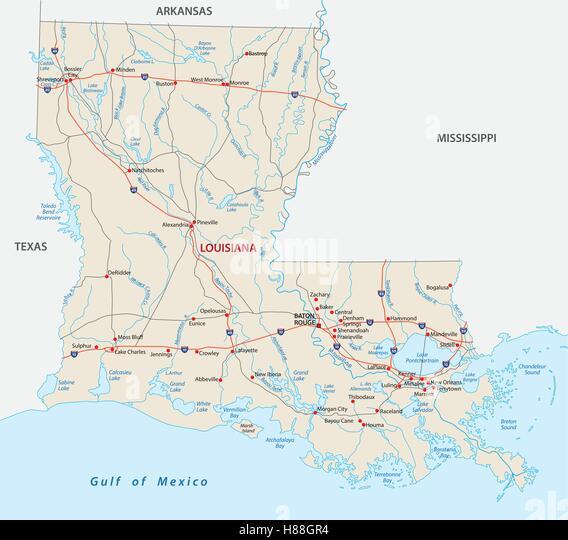 Map Louisiana Stock Photos Map Louisiana Stock Images Alamy - Road map of louisiana