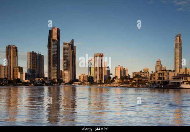 Surfers Paradise View from Gold Coast Arts Centre, Queensland, Australia - Stock Image