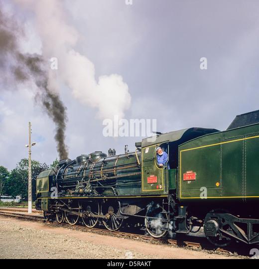 "Historic steam locomotive ""Pacific PLM 231 K 8"" of ""Paimpol-Pontrieux"" train Brittany France"