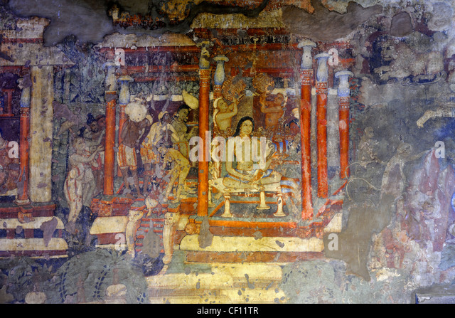 Ajanta caves painting mural stock photos ajanta caves for Ajanta mural painting