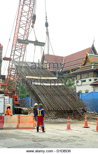 bangkok thailand construction work rebar being lifted by a crane stock image rebar worker