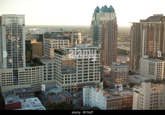 View Of Downtown Orlando From On Top Of The Dynatech Aspire Building.    Stock Image