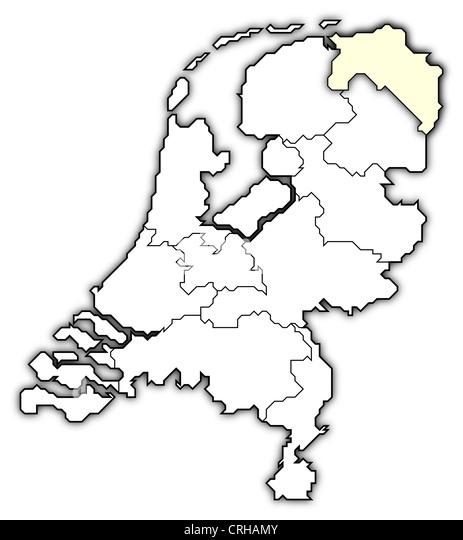 Netherlands Map Provinces Black White Stock Photos  Netherlands