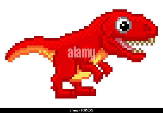 8 Bit Cartoon Characters : Tyrannosaurs stock photos images alamy