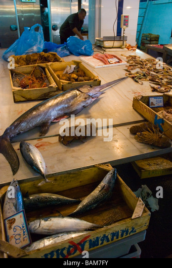 Central market fish fishmonger greece stock photos for Central fish market