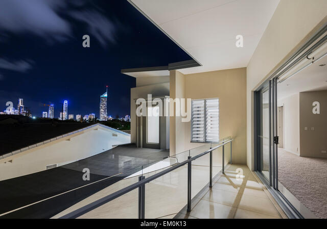 Balcony luxury night stock photos balcony luxury night for Balcony overlooking city