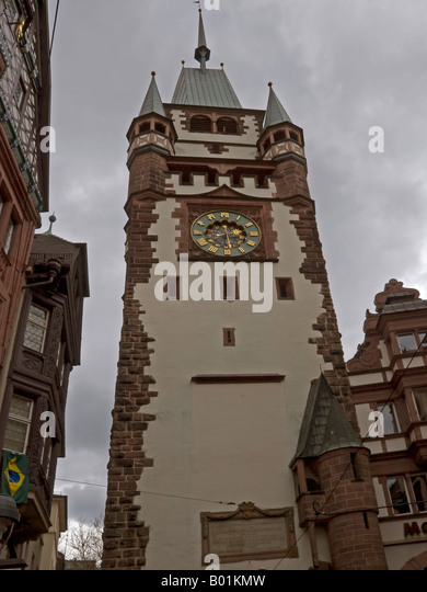 martinstor clock tower freiburg stock photos martinstor clock tower freiburg stock images alamy. Black Bedroom Furniture Sets. Home Design Ideas