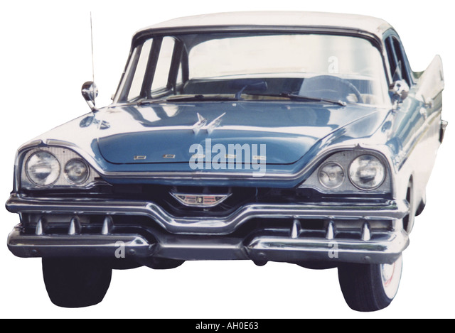brilliant blue dodge royal hardtop with whitewall tires stock image
