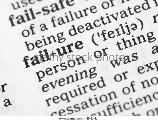 definition of failure Chapter one chapter one when i began this study, my own definition of error and failure derived from the psychological and cognitive disciplines specifically, i took it that human error and failure are related to measures of cognitive and psychomotor accuracy.