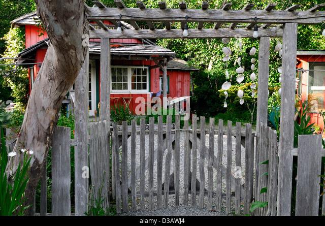 tofino botanical gardens vancouver island british columbia canada wooden pergola entrance stock image