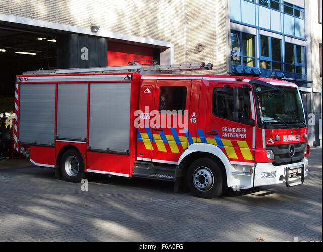 Beautiful Delicieux Mercedes Fire Truck, Firedept Antwerpen Unit A15 Stock Image