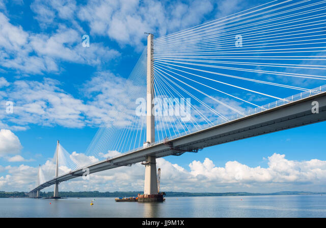 View of new Queensferry Crossing bridge spanning River Forth in Scotland, United Kingdom - Stock Image
