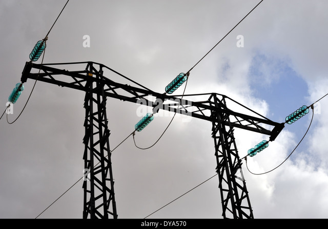 Three phase stock photos three phase stock images alamy for Glass power line insulators