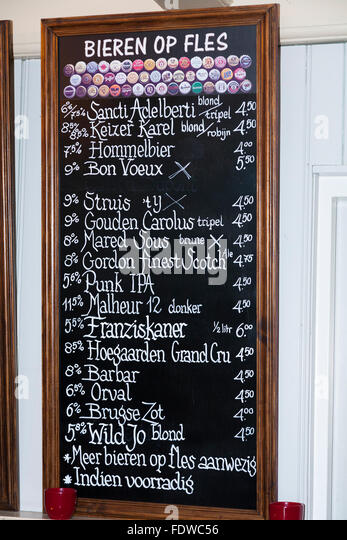 Menu And Price List For Bottled Beer Beers On Black Board In A Bar