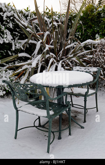 Rustic Wrought Iron Garden Seat Table Cover Covered With Snow Winter  Wonderland Gardening Scene Scenic