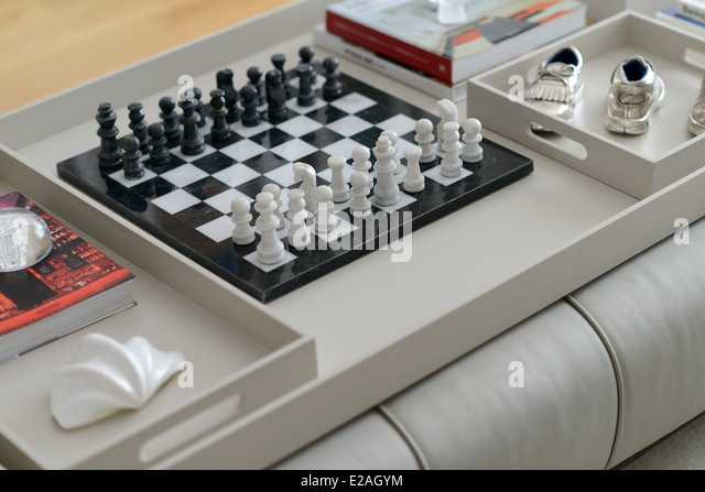 Chess Board On A Coffee Table   Stock Image
