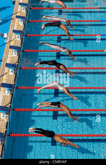 Olympic Swimming Pool Lanes olympics swimming race lanes stock photos & olympics swimming race