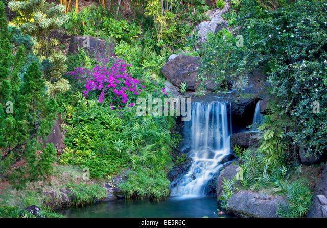 Waterfall At Na Aina Kai Botanical Gardens. Kauai, Hawaii   Stock Image