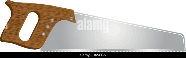 hand saw blade silhouette. realistic silhouette color of handsaw tool - stock image hand saw blade