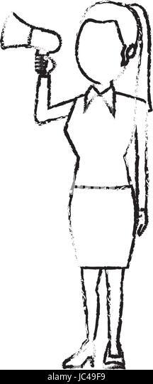 woman holding megaphone promoter speaking advertising politics - Stock Image