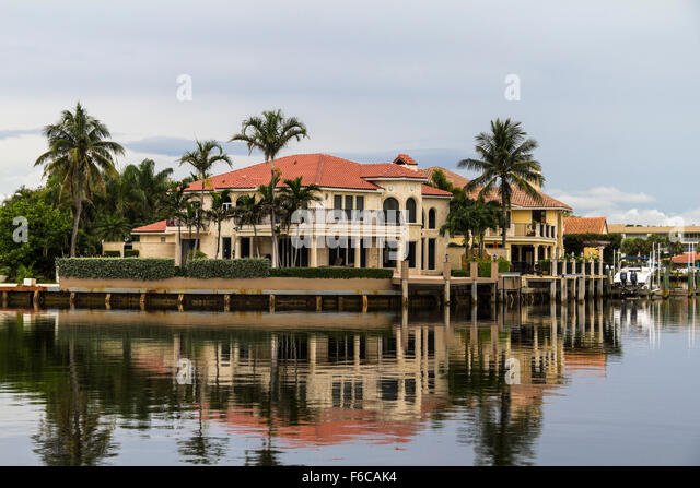 florida houses on the water. houses in florida reflecting on water stock image the l