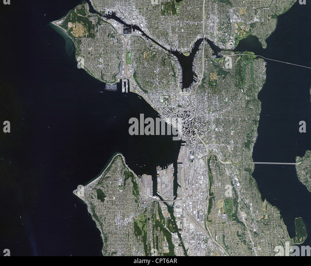 Satellite Image Puget Sound Seattle Stock Photos Satellite Image