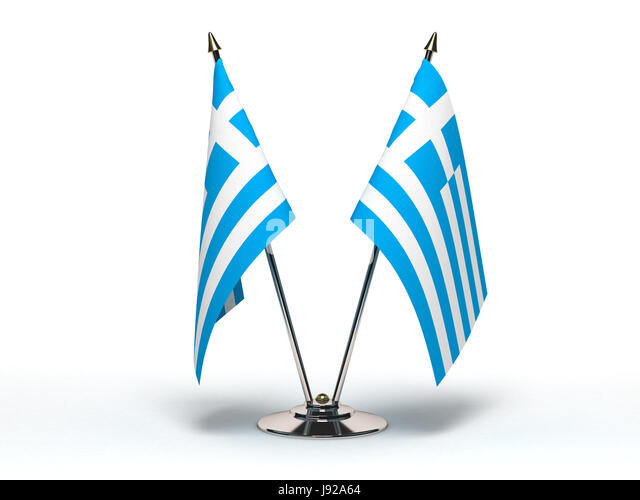 greece, flag, bureaucracy, diplomacy, isolated, greece, small, tiny, little, - Stock Image