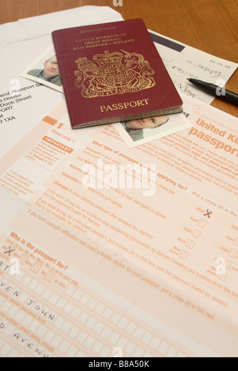British Passport Application Form Stock Photos & British Passport