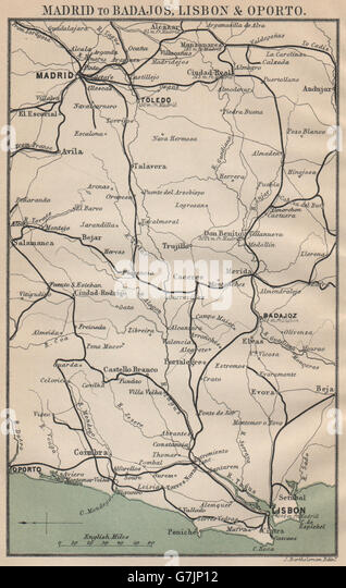 Map Spain Portugal 1899 Stock Photos Map Spain Portugal 1899 Stock