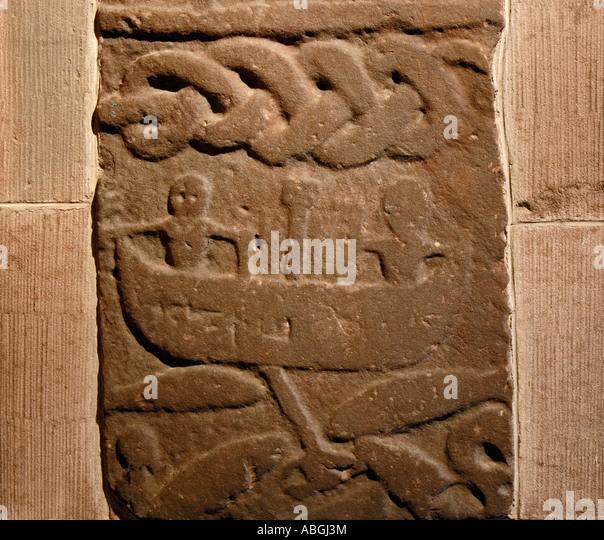 Gosforth cumbria norse stone carving stock photos