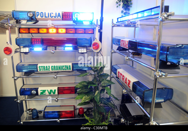 Emergency light bar stock photos emergency light bar stock special emergency light bars producer stand on europoltech 2011 international fair in warsaw poland mozeypictures Images