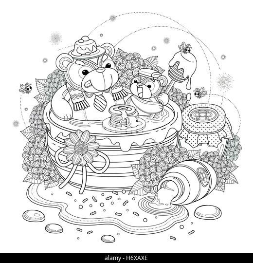 lovely bear adult coloring page bears enjoying sweet honey hydrangea and honey jar elements