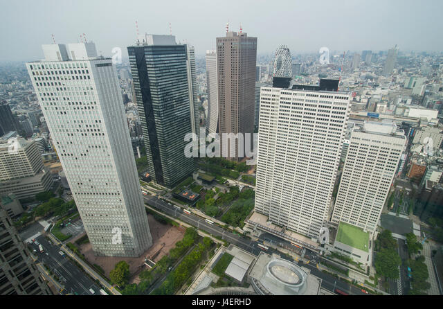View over Tokyo from the town hall, Shinjuku, Tokyo, Japan, Asia - Stock Image