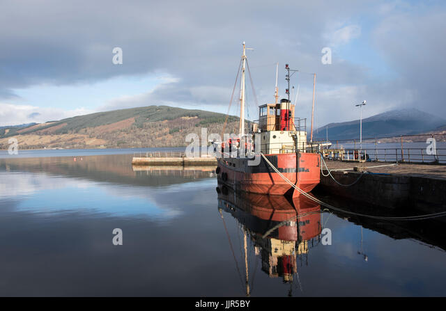 The Vital Spark, Clyde Puffer, moored at Inveraray Pier. Argyll. - Stock Image